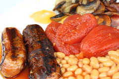 English Breakfast. Bacon egg sausage Royalty Free Stock Photos