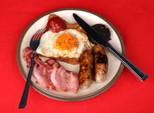 An English Breakfast. A tasty plate of fried food for breakfast royalty free stock images