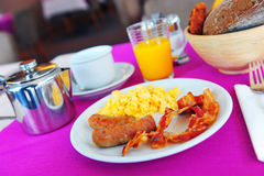 English breakfast. On a hotel table royalty free stock image