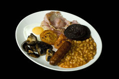 English breakfast. Full english breakfast isolated on black Royalty Free Stock Image
