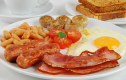 English breakfast. Traditional English breakfast with coffee and toasts stock photos