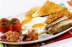 English Breakfast. Served on white plate royalty free stock photography