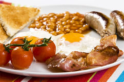 English Breakfast. Served on white plate stock photos