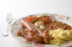 English breakfast. On white background - seen en face Stock Photos