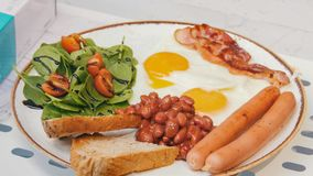 An english breakfast. Beautiful serving. Close up royalty free stock images