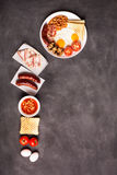 English breakfast on a black chalkboard Royalty Free Stock Image