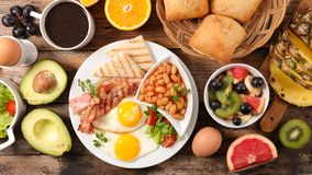 English breakfast composition. Top view royalty free stock photo