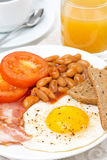 English breakfast with fried eggs, bacon, beans, toasts Stock Photo