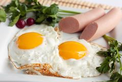 English breakfast - fried eggs and sausages Stock Photo