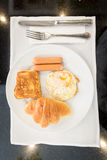 English breakfast with fried eggs,toast,Croissant Stock Image