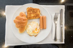 English breakfast with fried eggs,toast,Croissant Stock Images