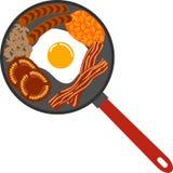 English Breakfast on Frying Pan royalty free illustration