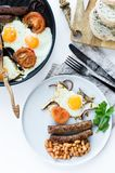 English Breakfast on a grey plate on a white background. royalty free stock photos