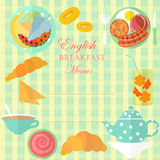 English Breakfast Leaf. Set of Traditional English Breakfast Items on the Tablecloth in Cage with Place for Menu. Vector EPS 10 Stock Image