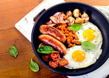 English breakfast in pan Royalty Free Stock Photography