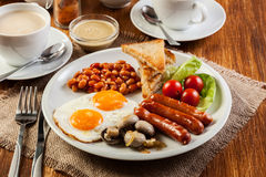 English breakfast with sausage Stock Photo