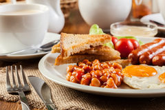 English breakfast with sausage Royalty Free Stock Images