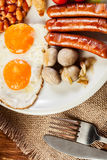 English breakfast with sausage Royalty Free Stock Photography