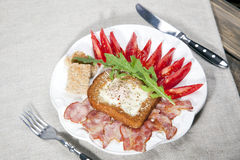 English breakfast with tomatoes Stock Images