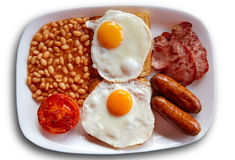 English breakfast with two eggs sausage beans Stock Photos