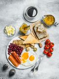English breakfast. A variety of snacks with aromatic coffee royalty free stock photo