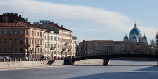English bridge across the Fontanka river Trinity Cathedral Petersburg, Russia Stock Image