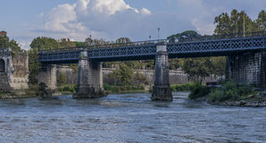 English bridge in rome seen from the river Tiber(roma). Leaf that flies like a butterfly Royalty Free Stock Photo
