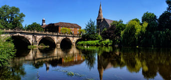 English Bridge Shrewsbury. The English bridge crossing the river Severn in Shrewsbury , the present bridge was rebuild in 1926 using the original masonry from Royalty Free Stock Photo