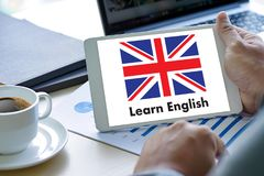 ENGLISH ( British England Language Education ) Learn English Lan. Guage Online Royalty Free Stock Photo