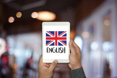 ENGLISH ( British England Language Education ) Learn English Lan. Guage Online Stock Photos
