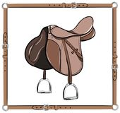 English brown saddle in leather belt frame. Equestrian leather harness with stirrup. Royalty Free Stock Photography