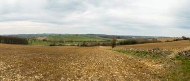 English Buckinghamshire Landscape Spring Plowed Field Stock Image