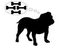 English bulldog dreams of many bones royalty free illustration