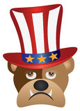 English Bulldog with 4th of July Hat vector Illustration. Fourth of July Hat on English Bulldog with Red White Blue Stripes and Gold Stars for 4th July Stock Images
