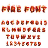 English  burning alphabet. Vector set of  English  burning font for design Royalty Free Stock Photos