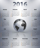 English business calendar for 2016 year. With the world globe in a spot. Sundays first. Vector illustration Vector Illustration