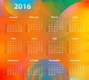 English Calendar for 2016 on abstract circles. Background. Sundays first. Vector illustration Stock Image