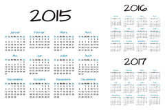 English Calendar  blue and black. English Calendar 2015-2016-2017  blue and black Stock Image