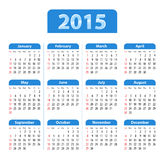English Calendar 2015 blue. Blue glossy English calendar for 2015. Sundays first. Vector illustration Royalty Free Illustration