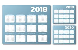 English Calendar 2018 2019 2020 blue grey vector Royalty Free Stock Photo