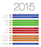 English calendar for 2015 on colorful pencils. Vector illustration Stock Photography