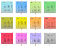2014 English calendar. Calendar for 2014 on colorful stickers attached with toothpicks. Vector illustration stock illustration