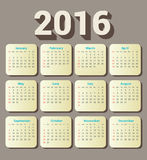 English Calendar 2016 Design. Illustration Stock Photos