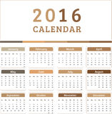 English Calendar 2016 Design. Illustration Stock Images