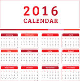 English Calendar 2016 Design. Illustration Royalty Free Stock Images