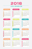 English Calendar 2016 Design. Illustration Royalty Free Stock Image