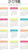 English Calendar 2016 Design. Illustration Stock Image