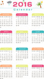 English Calendar 2016 Design. Illustration Royalty Free Stock Photos