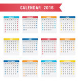 English Calendar 2016 Design. Illustration Stock Photography