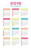 English Calendar 2016 Design. Illustration Stock Photo